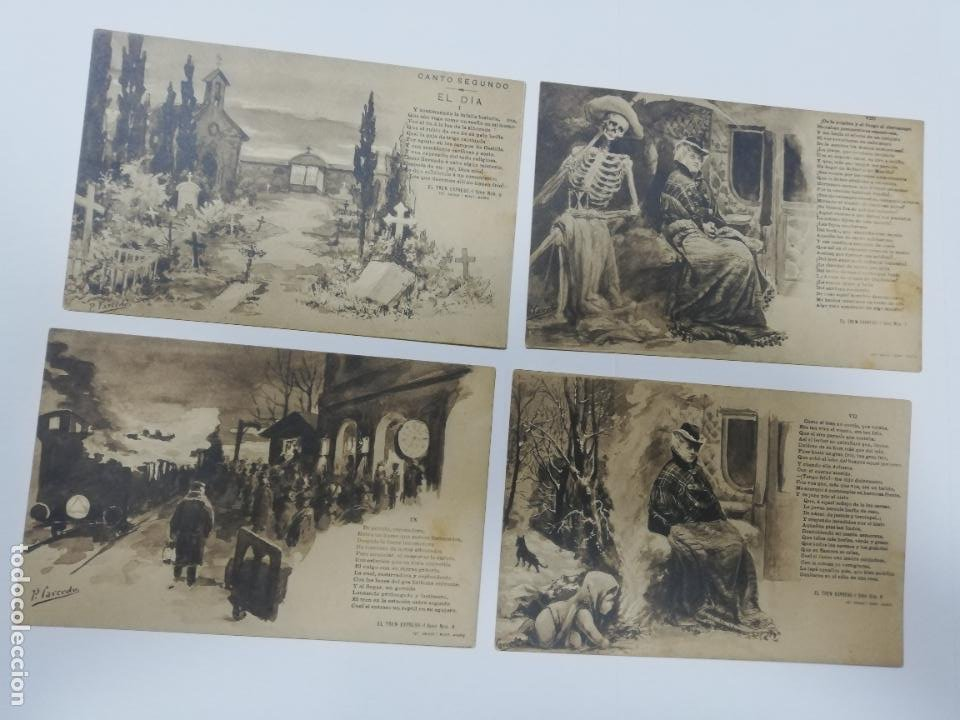 Postales: EL TREN EXPRESO. SERIE II. COMPLETA. HAUSER Y MENET. POEMA EN TRES CANTOS. D. RAMON DE CAMPOAMOR - Foto 5 - 207925167