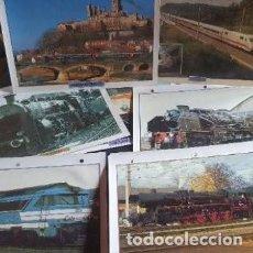 Postales: LAMINAS FOTOGRAFÍAS MAQUINAS TRENES. Lote 211481329