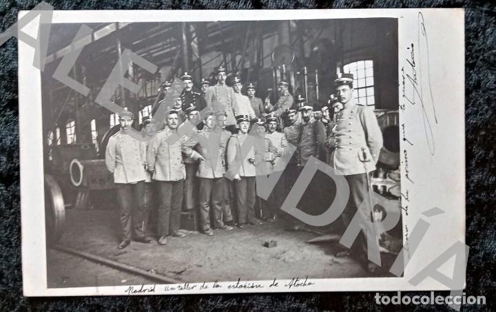 POSTAL FOTOGRÁFICA - TALLER ESTACION ATOCHA - MADRID - TRENES - CIRCULADA 1908 (Postales - Postales Temáticas - Trenes y Tranvías)