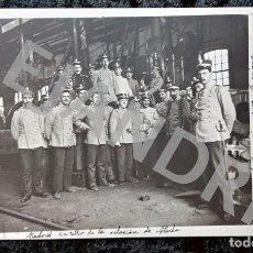 Postales: POSTAL FOTOGRÁFICA - TALLER ESTACION ATOCHA - MADRID - TRENES - CIRCULADA 1908. Lote 214578356