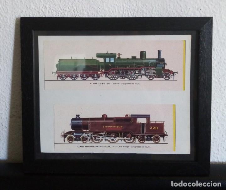 LÁMINA TRENES DE 1893 Y 1914. ENMARCADA 25CM X 30CM (Postales - Postales Temáticas - Trenes y Tranvías)