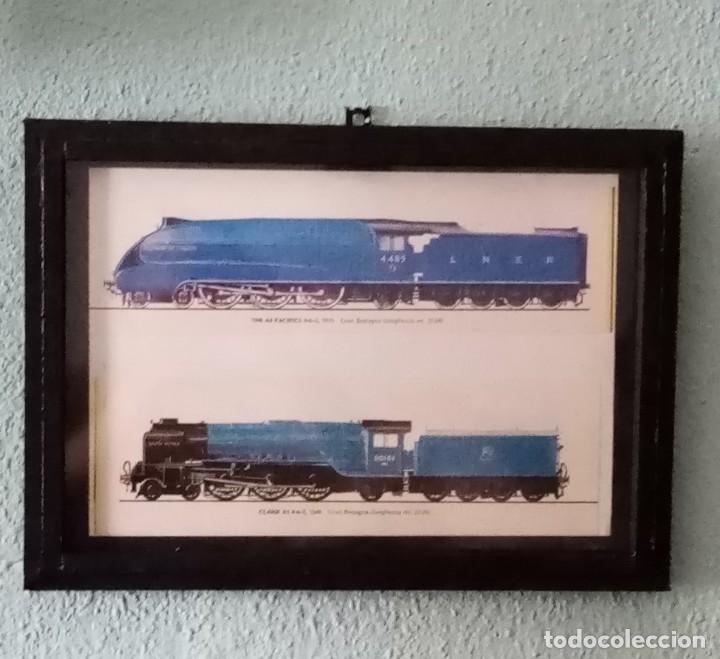 LÁMINA TRENES DE 1935 Y 1948. ENMARCADA 33 X 23,5 CM (Postales - Postales Temáticas - Trenes y Tranvías)
