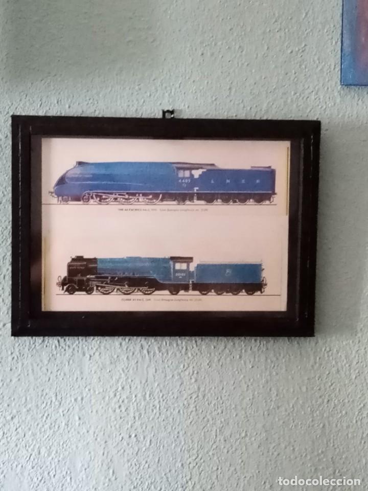 Postales: Lámina trenes de 1935 y 1948. Enmarcada 33 x 23,5 cm - Foto 2 - 215536112