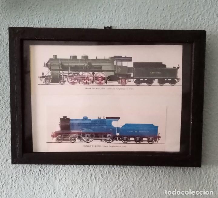 LÁMINA TRENES DE1908 Y 1932.ENMARCADA 32,7 X 23CM (Postales - Postales Temáticas - Trenes y Tranvías)