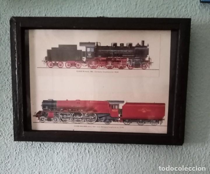LÁMINA TRENES DE 1906 Y 1939.ENMARCADA 33X 23,5 CM (Postales - Postales Temáticas - Trenes y Tranvías)