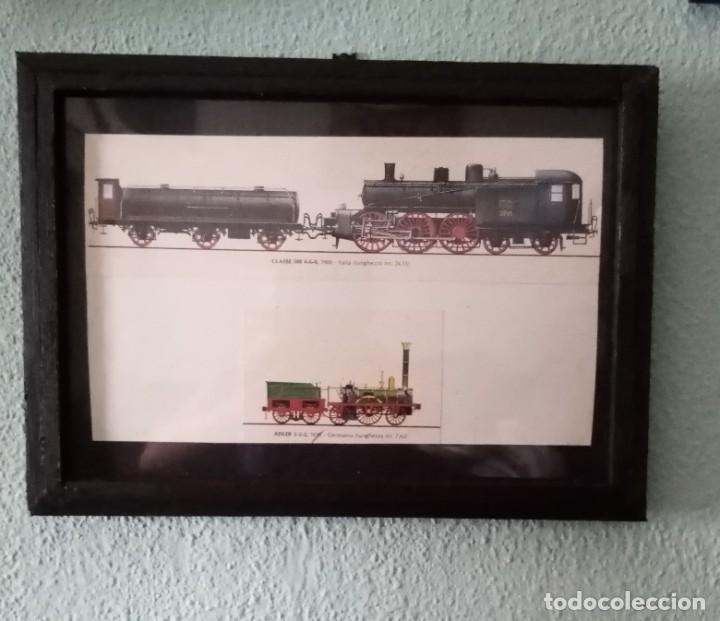 LÁMINA TRENES DE 1900 Y 1835.ENMARCADA 33,5 X 24,5 CM (Postales - Postales Temáticas - Trenes y Tranvías)