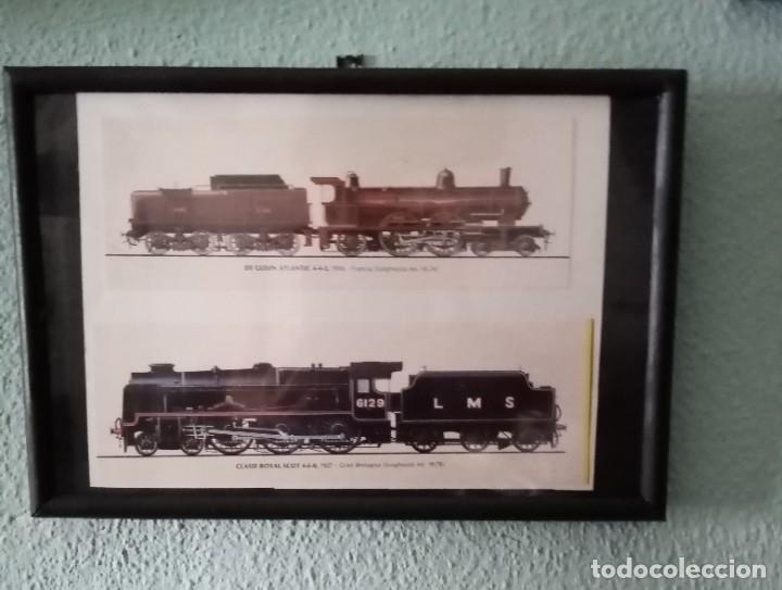 LÁMINA TRENES DE 1910 Y 1927 ENMARCADA 21,5 X31, 5 CM (Postales - Postales Temáticas - Trenes y Tranvías)