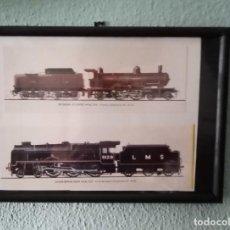 Postales: LÁMINA TRENES DE 1910 Y 1927 ENMARCADA 21,5 X31, 5 CM. Lote 215537897