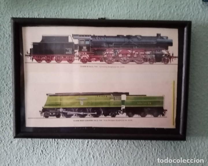 LÁMINA TRENES DE 1926 Y 1946.ENMARCADA 31,5 X 21,5 CM (Postales - Postales Temáticas - Trenes y Tranvías)