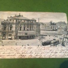 Postales: TRANVÍAS /BILBAO - ANTIGUA POSTAL CIRCULADA 1906 REVERSO SIN DIVIDIR TEATRO ARRIAGA Y ESTACIÓN 14X9. Lote 215660508