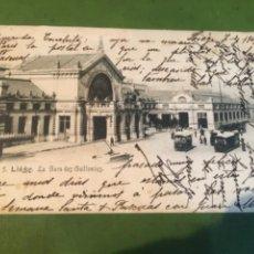 Postales: TRANVÍAS - ANTIGUA POSTAL CIRCULADA 1904 REVERSO SIN DIVIDIR -5 LIEGE LA GARR DES GUILLEMINS 14X9 CM. Lote 215743872