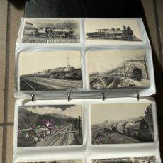 Postales: LOTE DE 400 POSTALES DE TRENES EN ÁLBUM. MAQUINAS. BLANCO Y NEGRO Y COLOR.. Lote 222741477