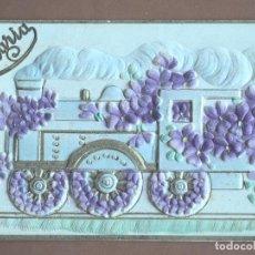 Postales: POSTAL EN RELIEVE CON FLORES EN TERCIOPELO ADHERIDAS. 1910 . ESCRITA. Lote 237257260