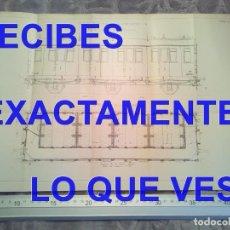 Postales: GRABADO VAGON PRIMERA CLASE FERROCARRIL DE LA COMPAÑIA PLM TRENES FERROCARRILES 410X180 MM C7. Lote 241135390