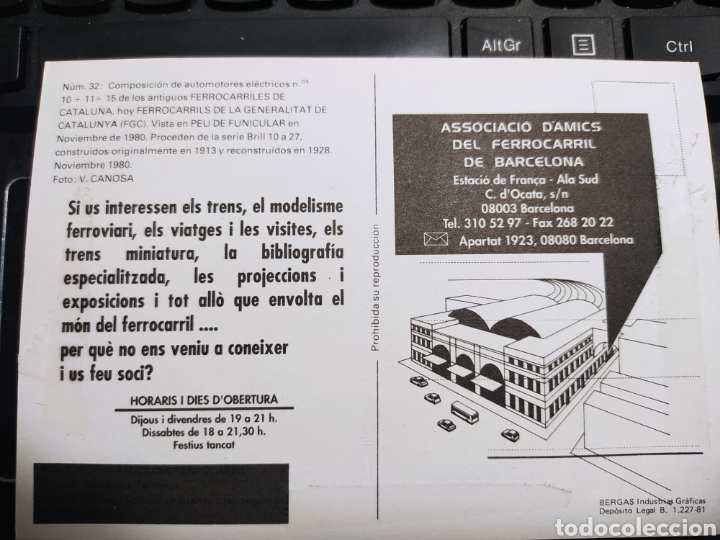 Postales: ASSOCIACIÓ DAMICS DEL FERROCARRIL DE BARCELONA. BERGAS INDUSTRIAS GRAFICAS 1981 - Foto 2 - 254945650