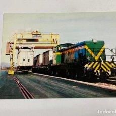 Postales: TARJETA POSTAL. TRANSBORDO CONTENEDORES DEL TREN A LOS CAMIONES.COLECCION RENFE. SERIE M-2. Lote 254982580