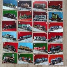 Postales: LOTE 24 POSTALES LOCOMOTORAS COLECCION FERROVIARIOS, SERIE COMPLETA, ESCUDO DE ORO.. Lote 260099430
