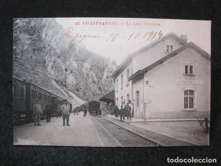 VILLEFRANCHE-ESTACION DEL FERROCARRIL-POSTAL ANTIGUA-(81.716) (Postales - Postales Temáticas - Trenes y Tranvías)