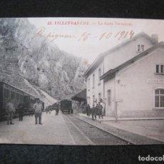 Postales: VILLEFRANCHE-ESTACION DEL FERROCARRIL-POSTAL ANTIGUA-(81.716). Lote 269741963
