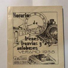 Postales: HORARIO TRENES, TRANVÍAS Y AUTOBUSES (VERANO 1938). Lote 277233693
