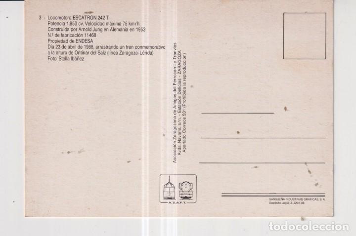 Postales: POSTAL DE TRENES LOCOMOTORA Nº 3 ASOCIACION AMIGOS DE ZARAGOZA SIN CIRCULAR - Foto 2 - 288331333