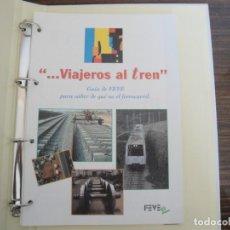 """Postales: """"VIAJEROS AL TREN"""". GUÍA DE FEVE, PARA SABER DE QUÉ VA EL FERROCARRIL. AÑO 1994. 22 FICHAS (COMPLETO. Lote 288341543"""