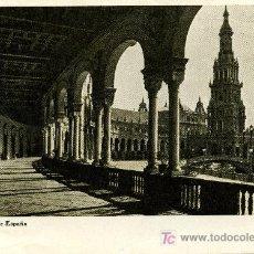 Postales: SEVILLA PLAZA DE ESPAÑA - DORSO PUBLICIDAD LABORATORIO SANAVIDA, S.A.. Lote 26630264