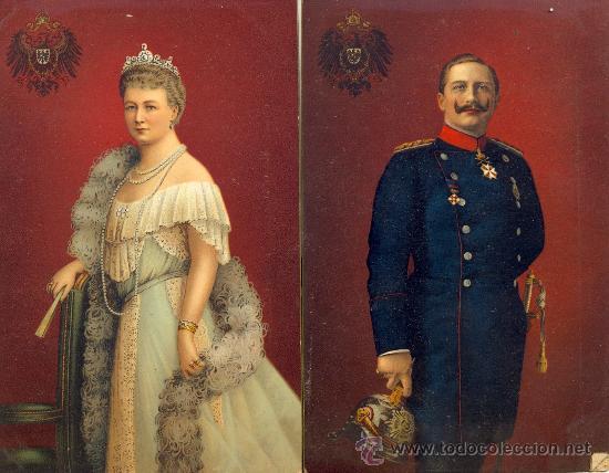EL KAISER GUILLERMO II Y AUGUSTA VICTORIA. DOS POSTALES COLOR ALEMANA, CALIDAD. C. 1915. REAL (Postales - Varios)