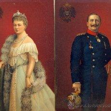 Postales: EL KAISER GUILLERMO II Y AUGUSTA VICTORIA. DOS POSTALES COLOR ALEMANA, CALIDAD. C. 1915. REAL. Lote 25895117