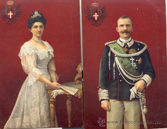 LOS REYES DE ITALIA. DOS POSTALES COLOR, C. 1915. IMPRESAS EN ALEMANIA, EXCELENTE CALIDAD. REAL (Postales - Varios)