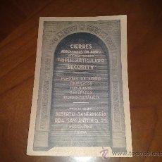 Postales: ANTIGUA POSTAL PUBLICITARIA. PUERTAS DE ACERO ALBERTO SANTAMARIA. EXPOSICION UNIVERSAL BARCELONA. Lote 27371609
