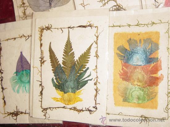 Postales: LOTE DE 10 POSTALES TIBETANAS HECHAS EN PAPEL DE ARROZ Y DECORADAS CON FLORES SECAS - Foto 2 - 12262496