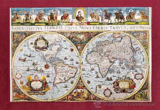 magnfico dptico antiguo  mapa mundi  impres  Comprar en