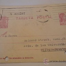 Postales: TARJETA POSTAL, REPÚBLICA, PERFORADA, DE MADRID A BILBAO, CIRCULADA. Lote 18038220