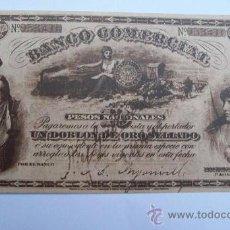 Postales: POSTAL BANCO COMERCIAL, REPLICA DOBLON DE ORO SELLADO 1886. AÑOS 70. Lote 26377780