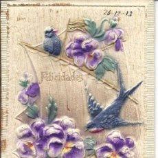 Postales: PS3066 FELICITACIÓN ENTELADA Y DECORADA EN RELIEVE. PUBLICIDAD CAFÉS 'LA ESTRELLA'. 1913. Lote 21815610