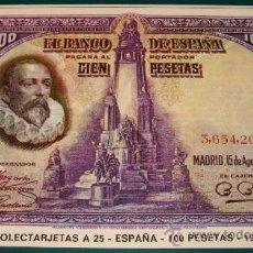 Postales: POSTAL DE NUMISMÁTICA AÑO 1972. BILLETE DE ESPAÑA / 1928 100 PESETAS / 25. COLECTARJETAS A. . Lote 23205608