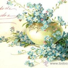 Postales: JARRON CON FLORES AZULES. POSTAL ALEMANA. RELIEVE. C. 1910. . Lote 23849267