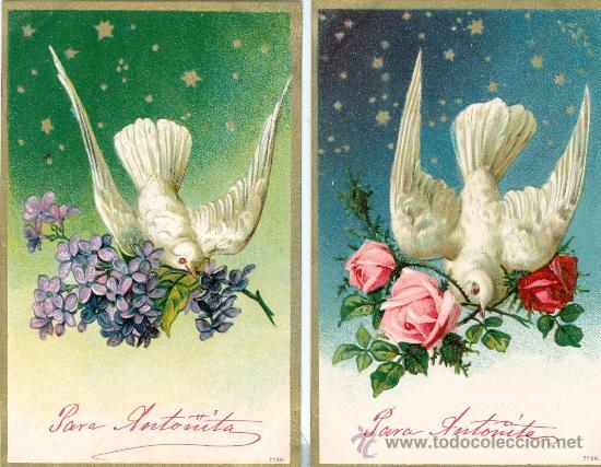 PALOMAS. DOS POSTALES ALEMANAS EN RELIEVE. C. 1910. (Postales - Varios)