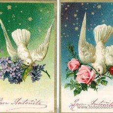 Postales: PALOMAS. DOS POSTALES ALEMANAS EN RELIEVE. C. 1910.. Lote 24062162
