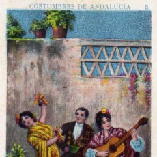 Postales: POSTAL PEQUEÑA DE 10 X 6,50 CMS. DE COSTUMBRES DE ANDALUCIA ANTIGUO BAILANDO SEVILLANAS. Lote 26642574