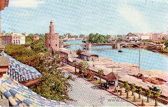 postal de sevilla torre del oro puente de san telmo desde paseo