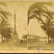Postales: ANTIGUA VISTA ESTEREOSCÓPICA - MONUMENTO A COLÓN DE BARCELONA . Lote 25523503