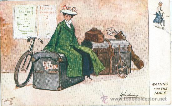 SEÑORITA CON SU EQUIPAJE. DIBUJO. POSTAL INGLESA, COLOR, C. 1915 (Postales - Varios)