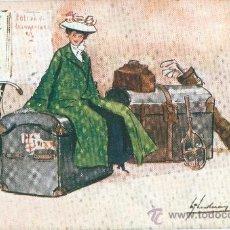 Postales: SEÑORITA CON SU EQUIPAJE. DIBUJO. POSTAL INGLESA, COLOR, C. 1915. Lote 26051178