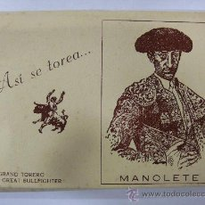 Postales: ASI SE TOREA......MANOLETE. 12 POSTALES OLEOGRAFICAS EN LIBRITO TIPO ACORDEON.. Lote 29601608