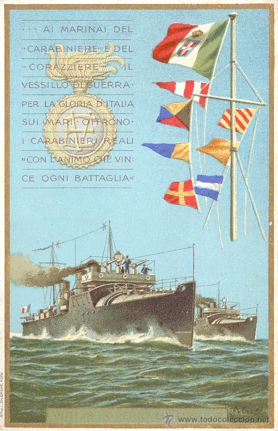 ITALIA. POSTAL PATRIÓTICA DE LA MARINA. COLOR. CIRCULADA. C. 1915. (Postales - Varios)