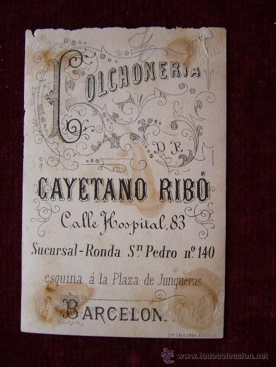 Postales: Publicidad Colchoneria Cayetano Ribó.Barcelona. - Foto 2 - 35732460