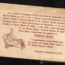 Postales: ANTIGUA PARTICIPACION DE BAUTISMO BARCELONA 1947. Lote 36462534