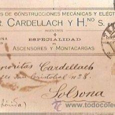 Postales: ANTIGUA POSTAL TALLERES ENR CARDELLACH Y HNOS ASCENSORES Y MONTACARGAS 1921. Lote 36994558